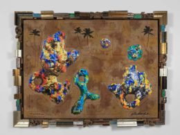 2015, oil and acrylic on digital print on jute with artist designed frame, 150 x 150 cm