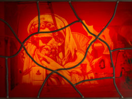 Red stained glass series no: 9