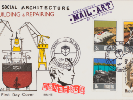 2019, envelope with artist's intervention of copies of mail art gestures, stamps, notes taken from matching year of mail art examples of several artists